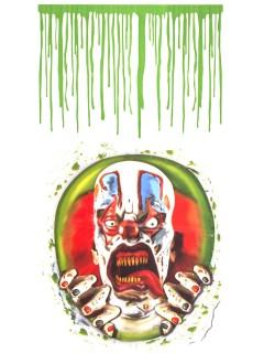 Psycho-Clown und Blut Toiletten-Folie Halloween-Deko 2-teilig bunt