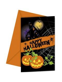 Schaurige Einladungskarten mit Umschlägen Halloween-Party 6 Stück schwarz-orange 9x14cm