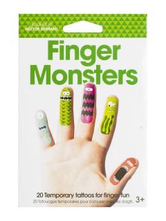 Lustige Monster Finger-Tattoos 20 Stück bunt