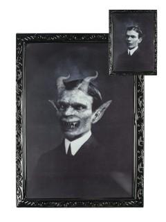 Horror-Portrait Teuflischer Gentleman Halloween-Deko schwarz-grau 35x48,5cm