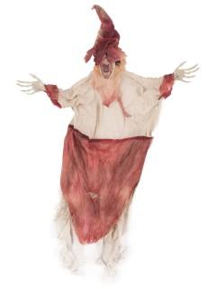Verrücktes Skelett mit Hut Halloween-Hängedeko rot-beige 55cm