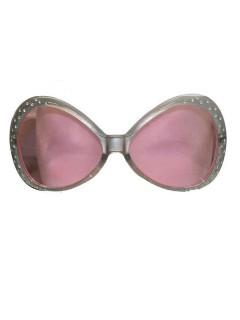 Disco-Brille mit Schmucksteinen Retro silber-rosa