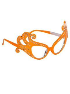 Karneval Party-Brille mit Schmucksteinen orange