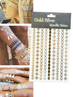 Metallic Tattoo Kreuze und Kettenmuster gold-silber-schwarz