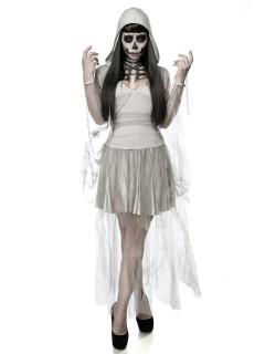Geister-Frau Halloween-Damenkostüm Komplettset grau