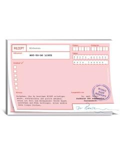 Rezeptblock Ruhe auf Rezept Not To-Do-Liste rosa-weiss 10,5x14,8cm
