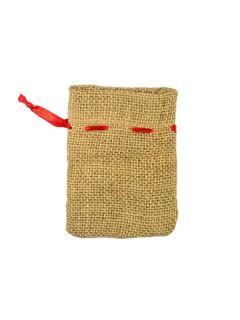 Weihnachts Geschenkbeutel Sack beige-rot 11x8cm