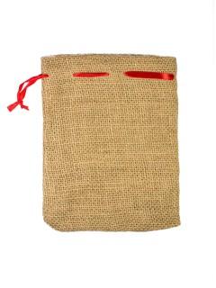Geschenke-Säckchen Weihnachtsgeschenke beige-rot 17x13cm