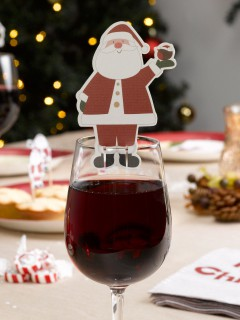 Weihnachtsmann Glas-Markierer 10 Stück Weihnachtsdeko rot-weiss 9x5,5cm
