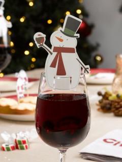 Schneemann Glas-Markierer 10 Stück Weihnachtsdeko weiss-rot-schwarz 9x5,5cm
