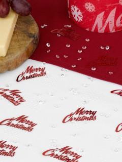 Merry Christmas Konfetti mit Schmucksteinen Weihnachtsdeko rot-transparent 28g