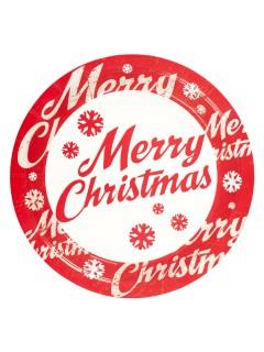 Merry Christmas Pappteller Weihnachtsdeko 8 Stück rot-weiss 23cm