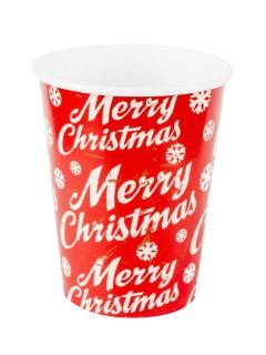 Merry Christmas Pappbecher Weihnachtsdeko 8 Stück rot-weiss 230ml