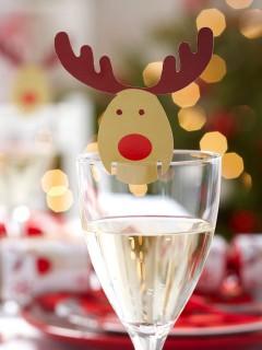Rentier Glas-Markierer 10 Stück Weihnachtsdeko braun-rot 9x5,5cm