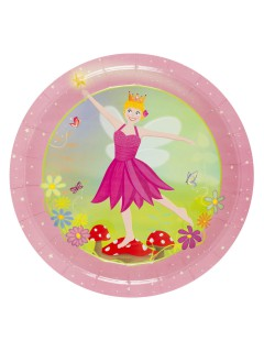 Fee Pappteller Elfe Kinderparty-Deko 8 Stück rosa-grün 23cm