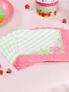 Fee Servietten Elfe Kinderparty-Deko 20 Stück rosa-grün 16,5x16,5cm