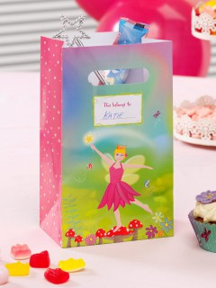 Fee Party-Tüten Elfe Kinderparty-Deko 5 Stück rosa-grün 27x15cm
