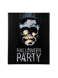 Halloween-Party Bild Monster mit LEDs Wanddeko schwarz-grau 40x50cm