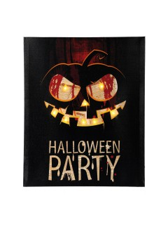 Halloween-Party Bild Kürbis mit LEDs Wanddeko schwarz-orange 40x50cm