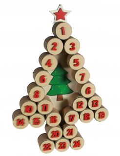 Tannenbaum Adventskalender Weihnachtsdeko beige-rot-grün 60x40cm