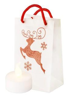 Windlicht-Papiertüte Springender Hirsch Weihnachtsdeko weiss-rot 11x7x5cm