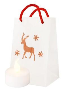 Windlicht-Papiertüte Rentier Weihnachtsdeko weiss-rot 11x7x5cm