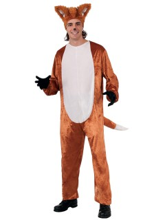 Lustiger Fuchs Jumpsuit-Kostüm Unisex hellbraun-weiss