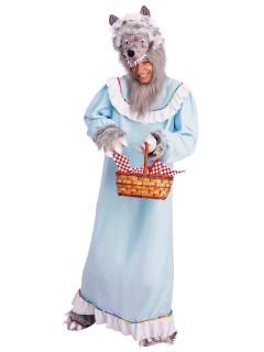 Grossmutter Wolf Kostüm Märchen hellblau-grau