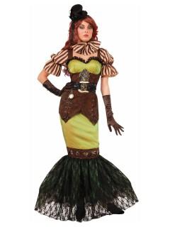 Edle Steampunk Lady Damenkostüm Gothic braun-bunt