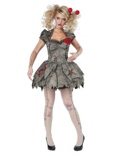 Voodoo Puppe Halloween Damenkostüm Ragdoll braun-rot