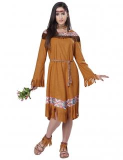 Western Indianerin Damenkostüm Wildwest braun-bunt