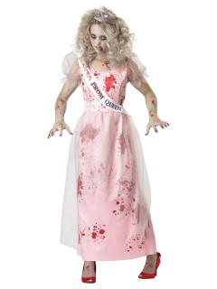 Zombie Prom-Queen Halloween-Damenkostüm rosa-rot-weiss