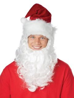 Weihnachtsmann-Mütze mit Bart Nikolaus rot-weiss