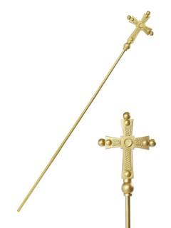 Papst Stab kirchliches Zepter für Erwachsene gold 168cm