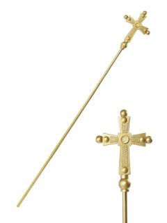 Papst Stab kirchliches Zepter gold 168cm