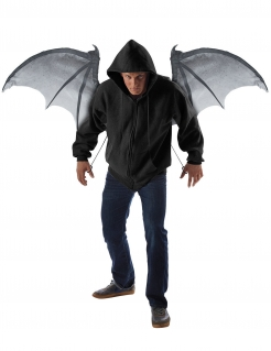 Dämonen-Flügel Fledermaus aufschwingbar schwarz-grau 122cm