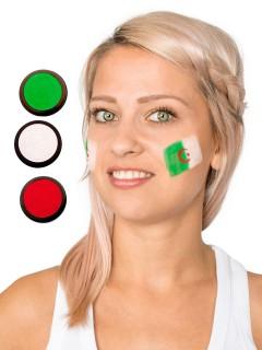 Algerien Schmink-Set Fussball Make-up 3-teilig grün-weiss-rot 60ml