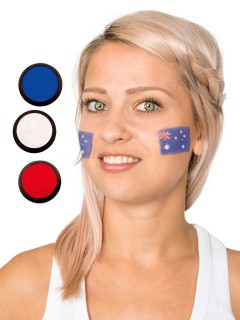 Australien Schmink-Set Fussball Make-up 3-teilig blau-weiss-rot 60ml