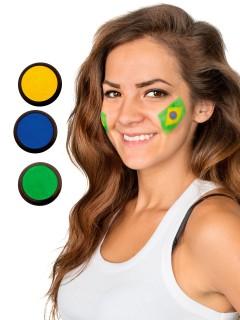 Brasilien Schmink-Set Fussball Make-up 3-teilig grün-gelb-blau 60ml