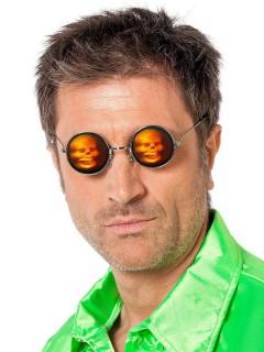 Hologramm Funbrille Totenkopf Spassbrille schwarz-orange