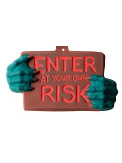 Halloween-Türschild Enter at your own risk braun-blau-rot 22x40cm