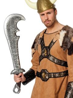 Gebogenes Krieger-Schwert Krummsäbel grau 76cm