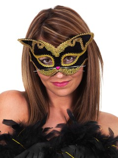 Katze Augenmaske mit Schmuckstein schwarz-gold