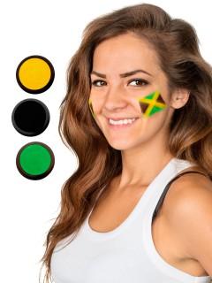 Jamaika Schmink-Set Fussball Make-up 3-teilig grün-gelb-schwarz 60ml