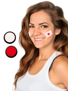 Japan Schmink-Set Fussball Make-up 2-teilig weiss-rot 40ml