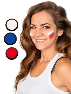 Russland Schmink-Set Fussball Make-up 3-teilig weiss-blau-rot 60ml