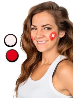 Schweiz Schmink-Set Fussball Make-up 2-teilig rot-weiss 40ml