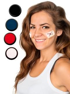 Südkorea Schmink-Set Fussball Make-up 4-teilig weiss-rot-blau-schwarz 80ml