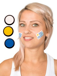 Uruguay Schmink-Set Fussball Make-up 3-teilig weiss-blau-gelb 60ml