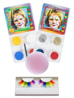 Clown Schmink-Set Karneval Make-Up 4-teilig bunt